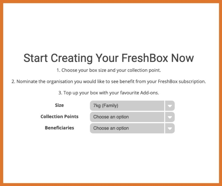 Freshbox subscription step 1